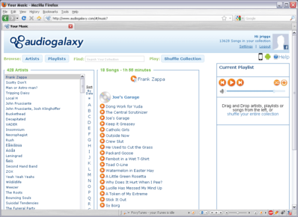 Audiogalaxy Web Interface