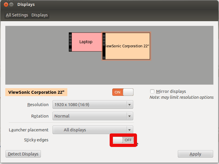 Ubuntu Display Settings Dialog - Sticky edges